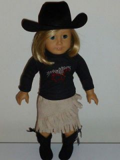 DOLL CLOTHES FITS AMERICAN GIRL 18 BLACK HORSE TSHIRT WESTERN SET