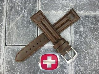 SWISS ARMY CAVALRY MILITARY Leather Strap Band Dark Chocolate Brown 18