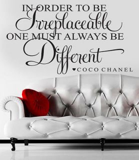 Coco Chanel Quote Vinyl Wall Decal Lettering BE AMUSING bedroom home