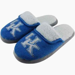 Kentucky Wildcats Ladies Glitter Sherpa Slippers   Royal Blue/Gray