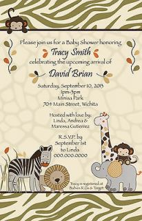 CoCaLo Azania Safari Baby Shower Invitation   YOU PRINT   Zebra