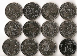 Canadian Quarter 25 Cent Coin Complete Set Canada Millennium Design