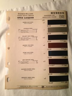 Passenger Car Sherwin  Williams Paint Color Chip Chart~Mixing Guide
