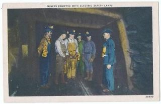 COAL MINING   MINERS EQUIPPED WITH ELECTRIC SAFETY LAMPS POST CARD