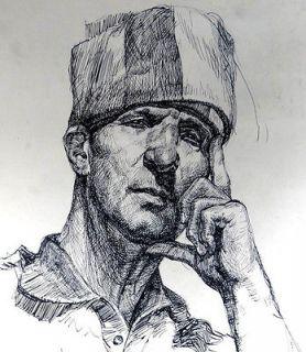 ANTIQUE RUSSIAN PRISONER CONVICT JAILBIRD MAN BUST PORTRAIT INK