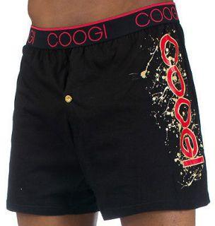 Coogi Mens Boxers Black w/ Red & Gold Coogi Logo Design  M L XL