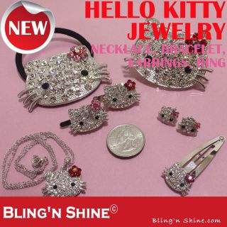 Hello Kitty Cute Fashion Jewelry Crystal Bracelet Chain Necklace