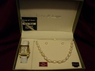 COTE d AZUR WATCH WITH FRESH WATER PEARL NECKLACE & EARRING SET FREE