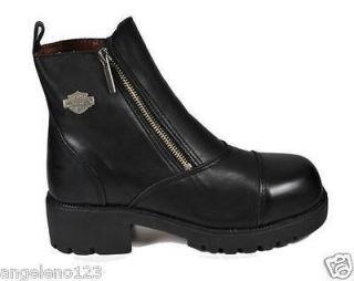HARLEY DAVIDSON Starter Switch Black Leather Women Shoe STEEL TOE