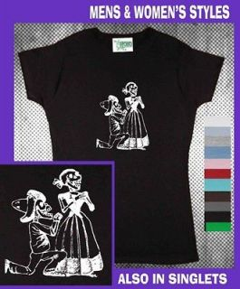 Mexican Couple Day of the Dead skeleton Hobo Mens Womens T Shirts