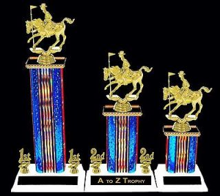 POLE BENDING HORSE TROPHIES 1st 2nd 3rd RANCH COWBOY TROPHY RODEO