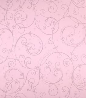 Silver Glitter Wallpaper / Disney DK5967 Swirl Scroll Girls Wallpaper