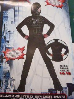 Super Boys Marvel Spiderman Black Suited Costume Halloween Size 14 16