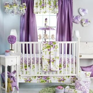 Cute Purple Floral Flowers Themed Infant Baby Girls 3p Nursery Crib
