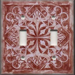 Switch Plate Cover   Wall Decor   Tuscan Tile Pattern   Brick Red