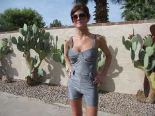 Vintage Metallic Silver Romper Leotard Shorts Molded Underwire Cups