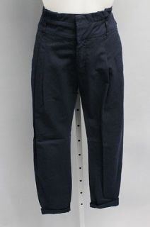 ZARA BASIC Navy Blue Cotton Classic Waist Pleated Front Skinny Cropped
