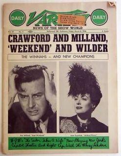 Variety Magazine 1946 Oscar Academy Award Joan Crawford Ray Milland