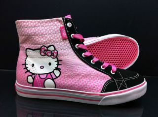 Vans HELLO KITTY CORRIE HI TOP Pink Canvas Trainers UK 10   5