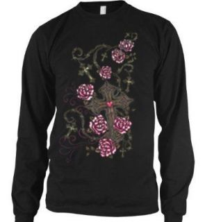Barbed Wire Rosary Crosses Thermal Long Sleeve Shirt Tattoo Roses