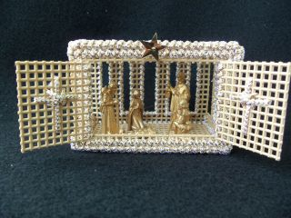 Vintage Nativity Scene! MANGER Cross Stitched!! OOAK! HAND CRAFTED
