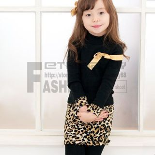 Girl Kids Black&Leopard Dress Chest Yellow Bow Long Sleeve Size 2 6