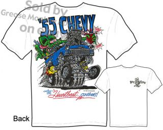 1955 55 Chevy Rat Fink T shirt Big Daddy T Gasser Hot Rod Tee, Sz M L