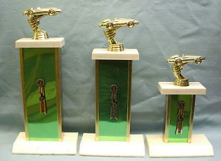 cub scout trophy set of 3 green metal column pinewood car derby