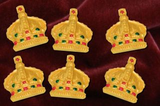 Gold Crowns Edible Cake Cupcake Toppers Diamond Jubilee