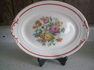 Vintage Crown Potteries Co. 11 1/4 Platter Needle Point Roses