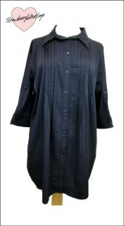 Ladies Plus Size Navy Blue Loose Fit Long Shirt / Blouse / Tunic Top