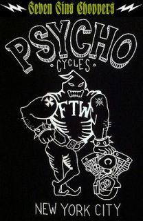 PSYCHO CYCLES SHOVELHEAD TEE CHOPPER BOBBER HARLEY STEG INDIAN LARRY