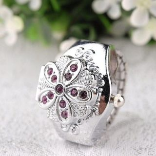 Crystal Flower Charm Ladies Stretchy Watchband Finger Ring Watch