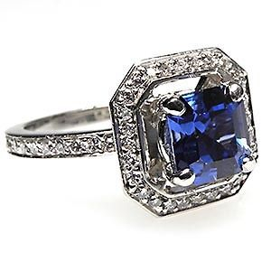 Square Emerald Cut Blue Sapphire & Diamond Halo Engagement Ring Solid