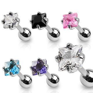 Square Gem Tragus Cartilage Ring 16g 1/4 Princess Cut diamond shaped