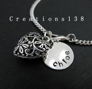 Any Name Silver Filigree Heart Charm Chain Bracelet Birthday Gifts
