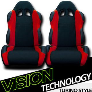 Black/Red Fabric & PVC Leather Racing Bucket Seats+Sliders Dodge/Ram
