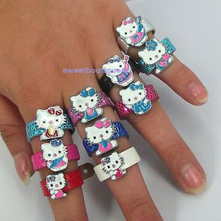 10pcs mix cute bow HelloKitty cats Charm Adjustable Leather rings for