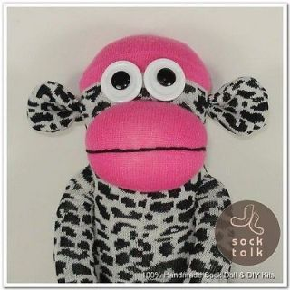 Leopard Print Rose Red Sock Monkey Stuffed Animals Doll Baby Toys