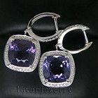 Fancy 12.32Ct Solid 14Kt White Gold Diamond Purple Amethyst Earrings