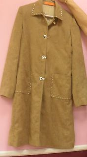 WOMENS CYNTHIA STEFFE GORGEOUS BROWN SUEDE STUDDED TRENCH COAT JACKET