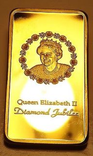 Queen Elizabeth Diamond Jubilee 1 Oz .999 24k Gold Plated Bar