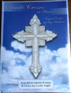 ORNATE CROSSES IN STAINED GLASS/PATTERNS /NEW
