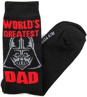 Star Wars Darth Vader Worlds Greatest Dad Mens Crew Socks Size 10 13