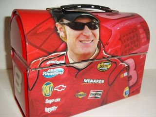 NASCAR DALE EARNHARDT JR METAL LUNCH BOX CAR TRUCK