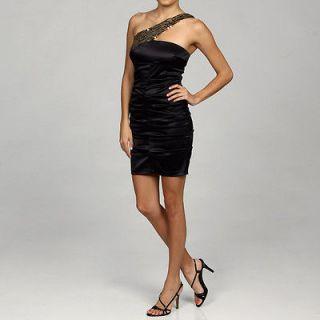 NEW Jump Apparel Junior One shoulder Sequined Dress Color BLACK Size