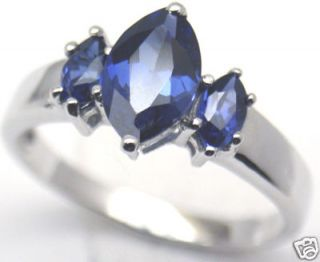 Lab Created Blue Sapphire Silver Ring, Sep #58