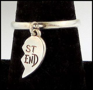 James Avery Best Friend Dangle Ring Half Heart Charm Sz 7.5 Sterling