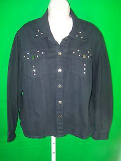 Glee Sz 1X black denim jacket cord lace up in back metal push thru