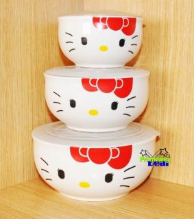 piece Hello Kitty Ceramic Clear Bowl Storage Containers Set w/lids